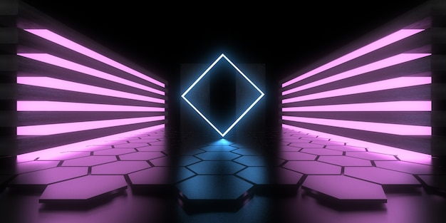 Fundo abstrato 3d com luzes de néon.