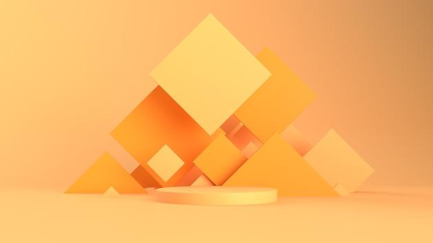 Fundo abstrato 3d com pedestal. formas simples, luz suave, sombras suaves. rugosidade de materiais. praças nos bastidores.