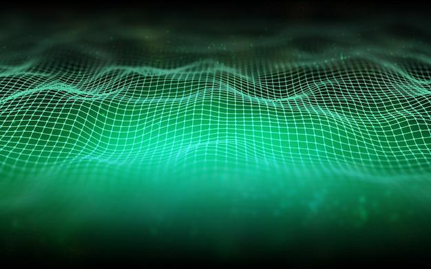 Fundo abstrato 3d com uma paisagem digital wireframe com profundidade de campo