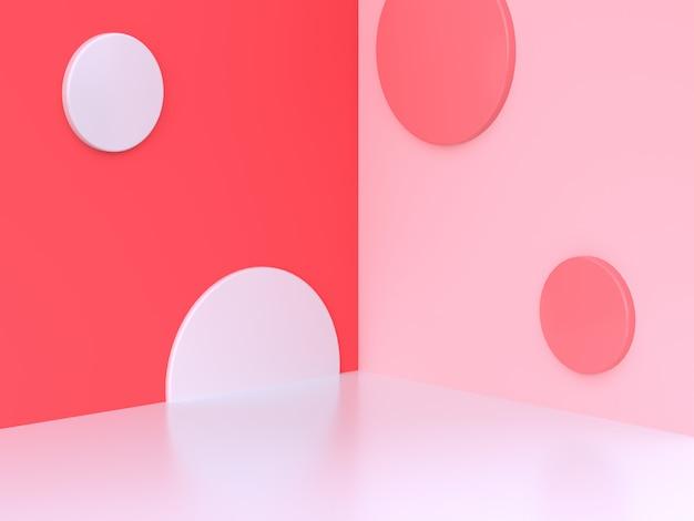 Fundo abstrato 3d mínimo rosa-vermelho parede canto cena círculo geométrico renderização em 3d