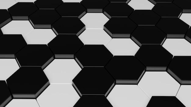 Fundo abstrato 3d preto e branco padrão hexagonal