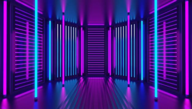 Fundo abstrato 3d rosa violeta azul néon. interior do clube noturno. quarto vazio da decoração do pódio ultravioleta. painéis de parede brilhantes. render.