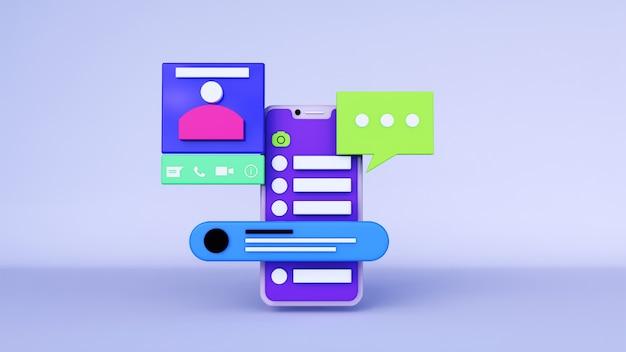 Fundo abstrato, aplicativo de telefone de layout whatsapp com chat e perfil, para web. renderização 3d