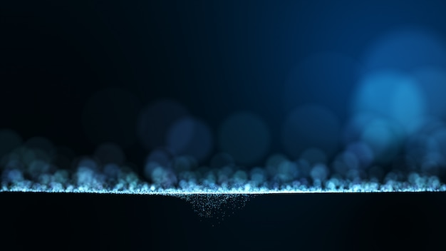 Fundo abstrato azul escuro com muitas partículas circulares com azul e branco.