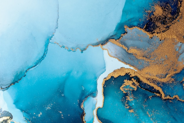 Fundo abstrato azul luxuoso da pintura artística de tinta líquida de mármore no papel.