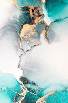 Fundo abstrato azul oceano da pintura artística de tinta líquida de mármore no papel.