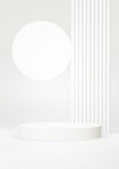 Fundo abstrato branco do pódio. forma geométrica. cena de cor pastel branco. renderização 3d mínima. cena com fundo geométrico. renderização 3d