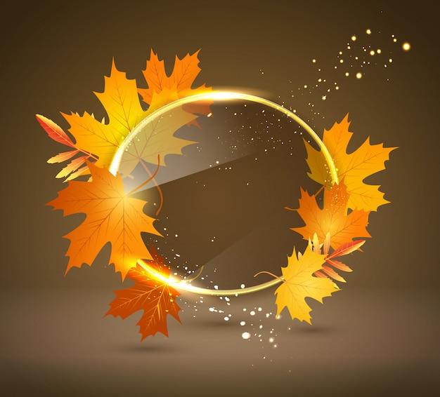Fundo abstrato brilhante com folhas de outono