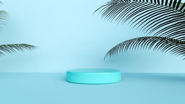 Fundo abstrato, cena para exposição do produto, para colocação com fundo azul e planta