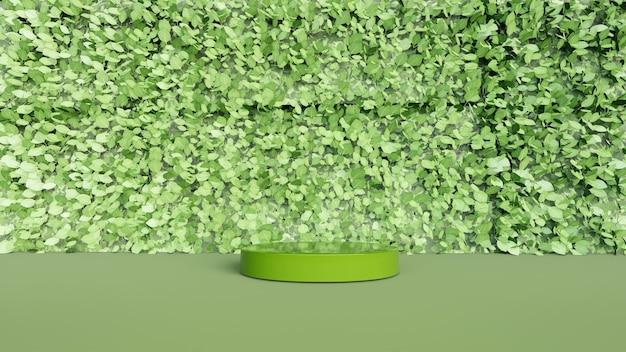 Fundo abstrato, cenário para exposição do produto e com folhas