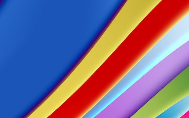 Fundo abstrato colorido brilhante, formas suaves e geometria. listras curvas coloridas amarelo vermelho azul verde moderno fundo