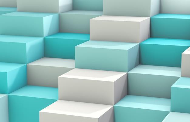 Fundo abstrato com a caixa branca do cubo 3d. 3d rendem. fundo branco e azul.