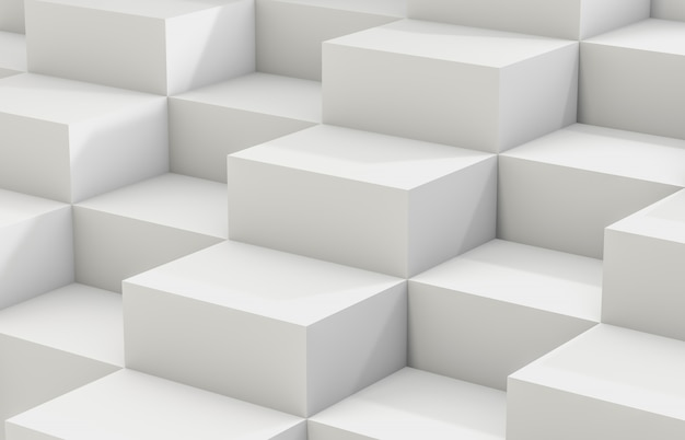 Fundo abstrato com a caixa branca do cubo 3d. 3d rendem. fundo branco.