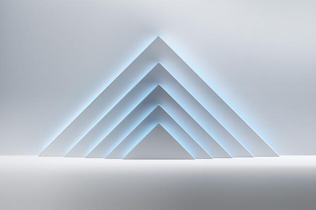 Fundo abstrato com as formas triangulares brancas iluminadas pela luz azul sobre a superfície reflexiva brilhante. espaço da sala com pirâmides de formas primitivas geométricas.