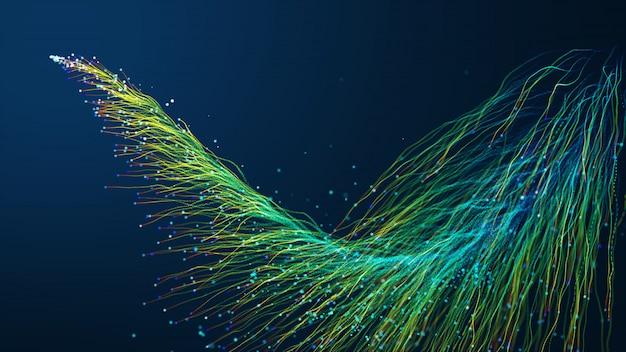 Fundo abstrato com as partículas de incandescência da animação que movem-se das linhas para que os cabos da rede da fibra ótica espalhem para fora através do quadro.