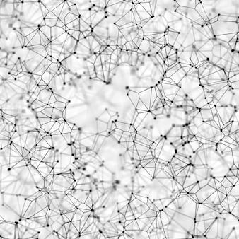 Fundo abstrato com baixo design de poli com linhas e pontos de conexão