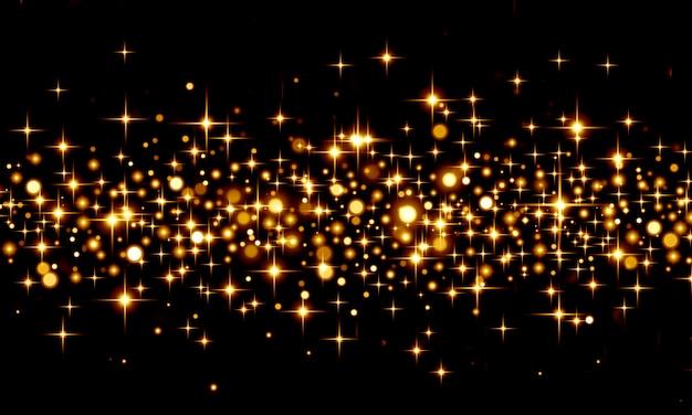 Fundo abstrato com bokeh glitter, confetes dourados sobre fundo preto