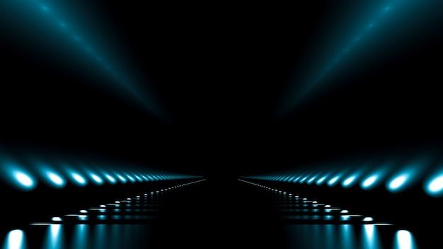 Fundo abstrato com brilho e estrada. ilustração 3d, renderização em 3d.