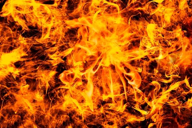 Fundo abstrato com chamas, fogo laranja intenso