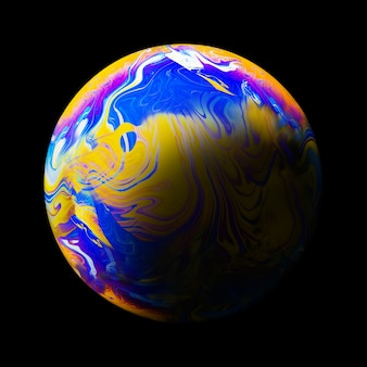 Fundo abstrato com esfera amarela e roxa azul