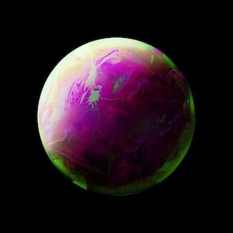 Fundo abstrato com esfera verde e roxa