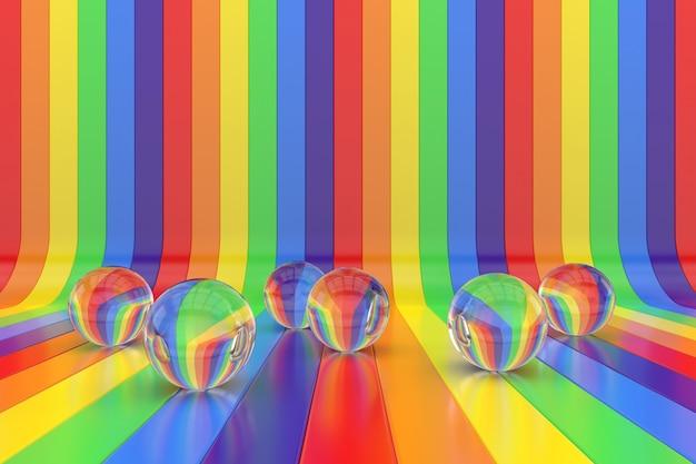 Fundo abstrato com esferas de cristal e cores do arco-íris. renderização 3d.