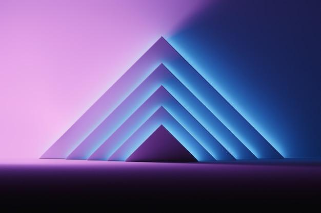 Fundo abstrato com formas triangulares iluminadas pela luz de incandescência azul e cor-de-rosa sobre a superfície escura. espaço da sala com pirâmides de formas primitivas geométricas.