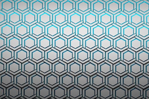 Fundo abstrato com hexágonos brancos estruturados. o hexágono dá forma em para ver através do fundo azul.
