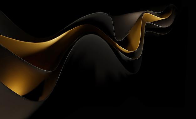 Fundo abstrato com ondas douradas sobre um fundo preto. molde abstrato do vetor com ondas douradas em um fundo preto. modelo para design corporativo, banner, site