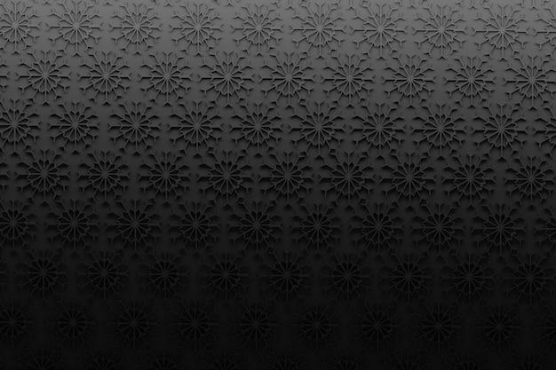 Fundo abstrato com os flocos de neve pretos no fundo preto.