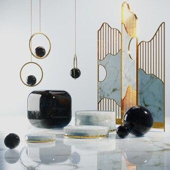 Fundo abstrato com pódio de mármore, cena 3d para visualização do produto