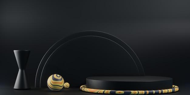 Fundo abstrato com pódio preto, cena 3d para visualização do produto