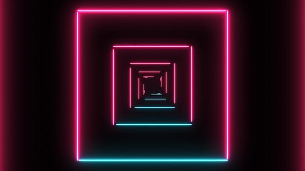 Fundo abstrato com quadrados de néon com linhas de luz