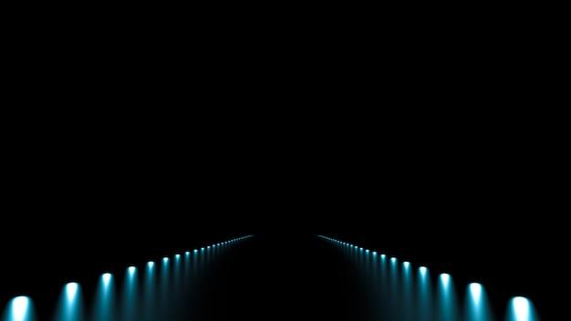 Fundo abstrato com renderização de ilustração 3d de brilho e estrada
