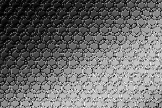 Fundo abstrato com repetição de anéis de prata de interconexão no cinza.