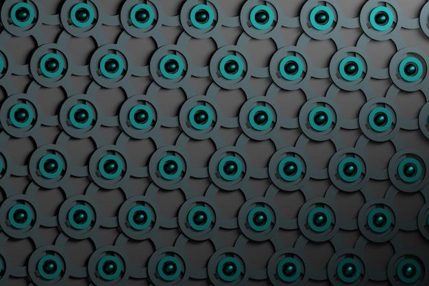 Fundo abstrato com repetição de anéis pretos e azuis, de círculos e de pérolas cianas.