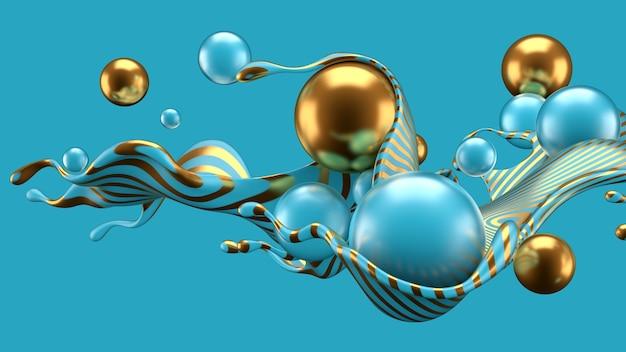 Fundo abstrato com respingo e bola. ilustração 3d, renderização em 3d.