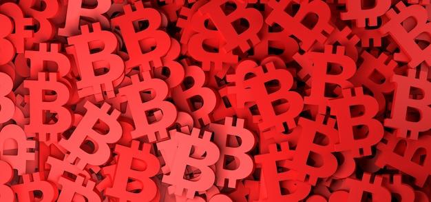 Fundo abstrato com símbolo de dinheiro bitcoin vermelho ilustração 3d