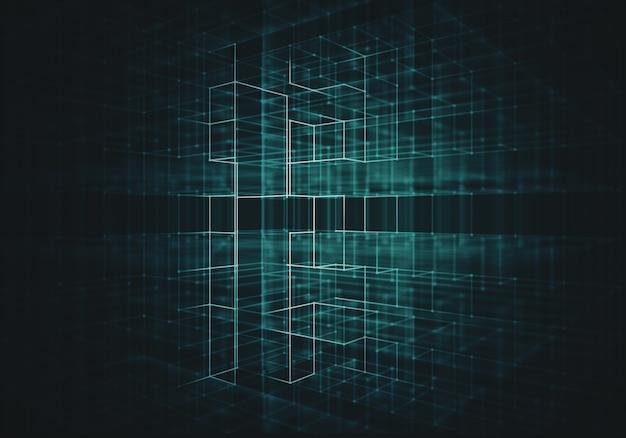 Fundo abstrato com wireframe de cubo de transparência