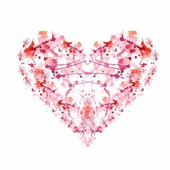 Fundo abstrato coração aquarela