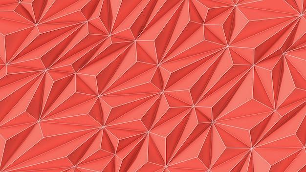 Fundo abstrato coral pantone low poly com cópia espaço e listra branca 3d render