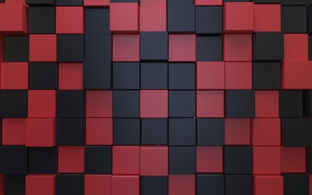 Fundo abstrato cubo preto e vermelho