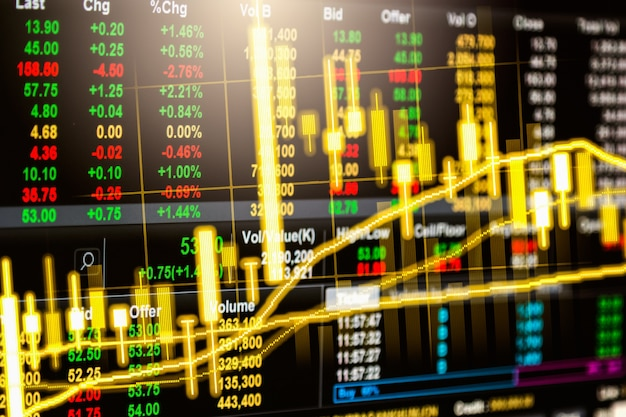 Fundo abstrato da análise de troca financeira do mercado de valores de ação.