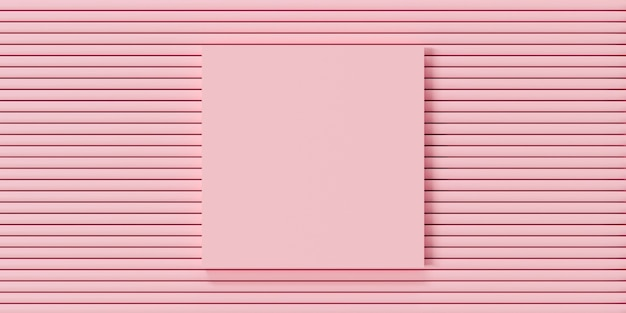Fundo abstrato da cor pastel. 3d render do modelo de maquete de moldura de foto rosa.