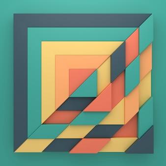 Fundo abstrato da forma de retângulo em renderização 3d