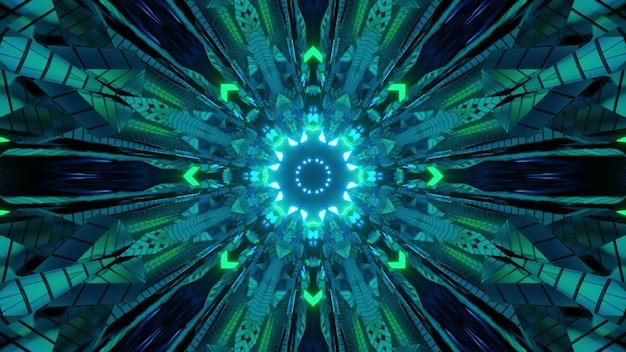 Fundo abstrato da ilustração 3d em tons de verde com ornamento simétrico geométrico circular e iluminação de néon para designs de conceito de ficção científica futurista