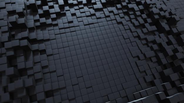 Fundo abstrato da onda com uma superfície cúbica móvel preta. conceito geométrico com caixas ou colunas aleatórias. modelo de design de movimento. ilustração 3d composição tecnológica. ondulação radial.