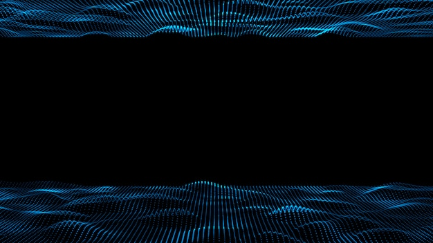 Fundo abstrato da tecnologia digital 3d. título de onda digital abstrata da ilustração de cor azul de partícula