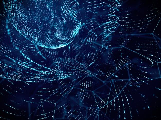 Fundo abstrato da tecnologia digital da rede do fluxo da grade, cor azul.
