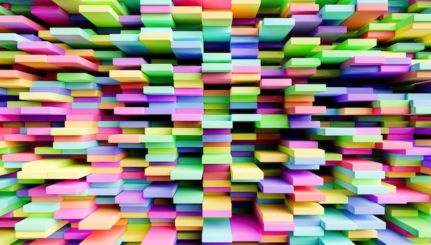 Fundo abstrato de blocos coloridos desordenados